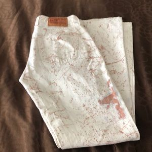 Lucky brand white gold painted jeans